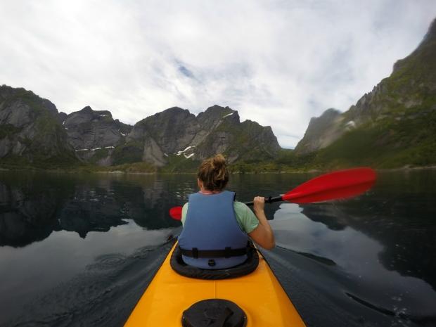 Paddling sea kayak Lofoten